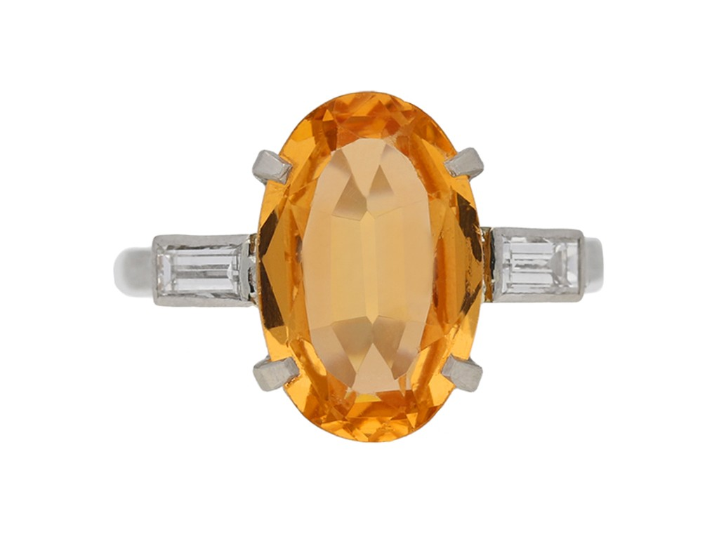 Art Deco topaz and diamond ring, circa 1935 berganza hatton garden