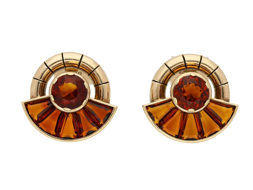 Citrine earrings, English, circa 1956. berganza hatton garden