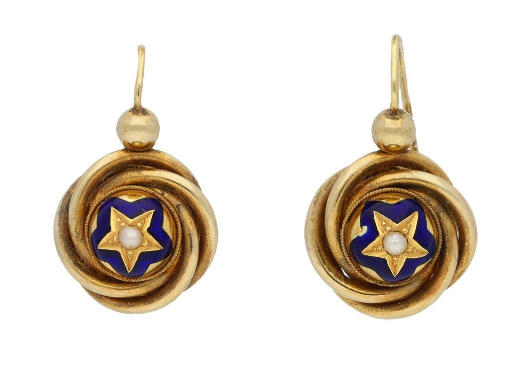 Antique pearl enamel earrings berganza hatton garden