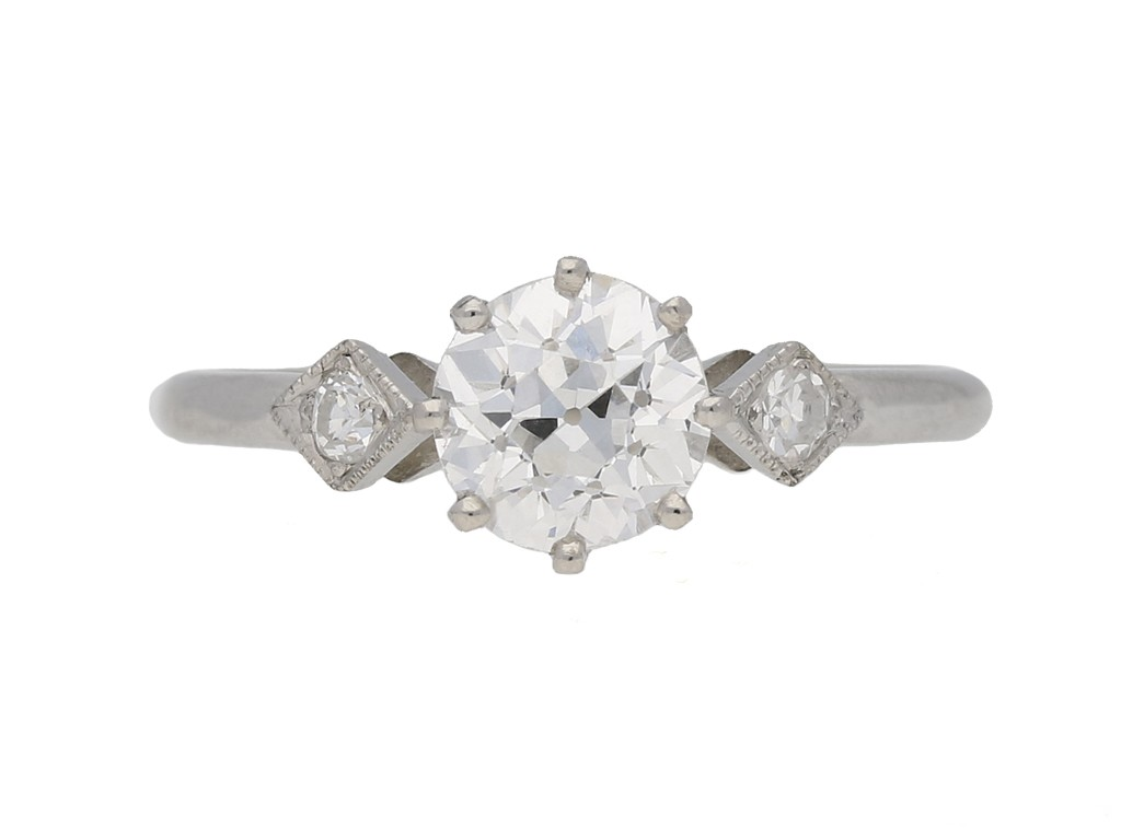 front view Antique diamond ring hatton garden berganza
