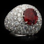 Ceylon spinel and diamond cocktail ring, English, circa 1960.