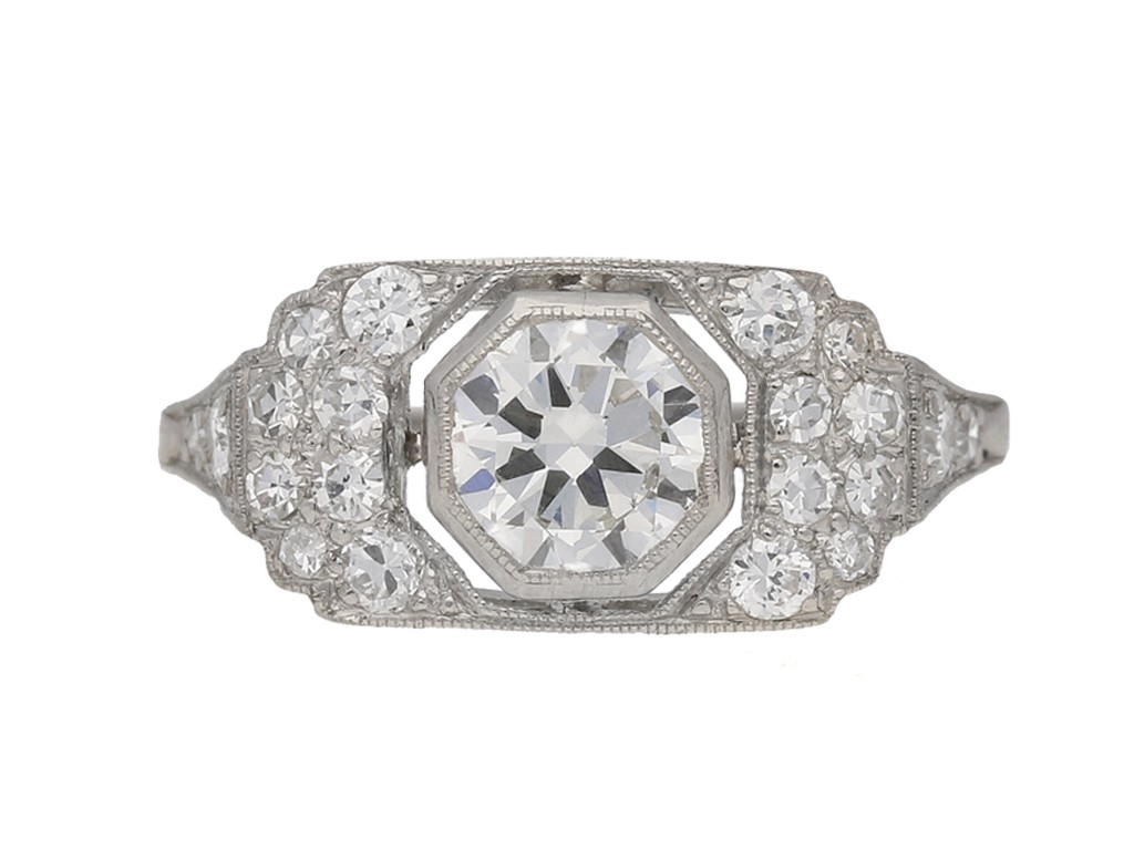 front view antique diamond art deco ring berganza hatton garden
