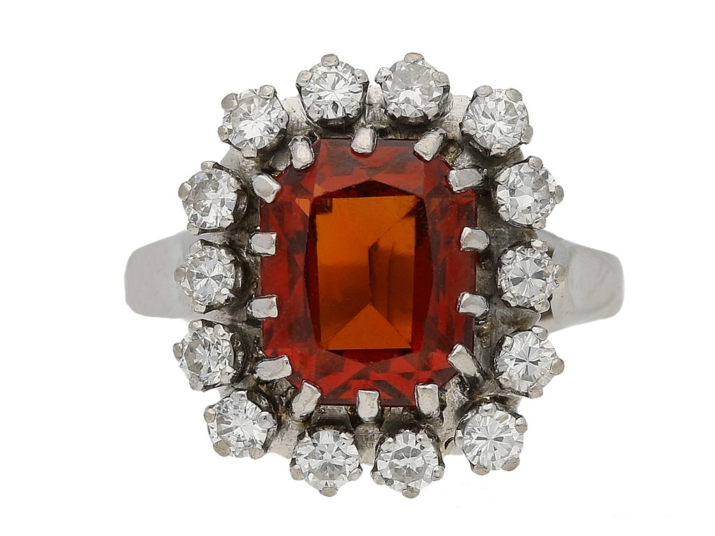front view vintage Hessonite garnet diamond ring berganza hatton garden