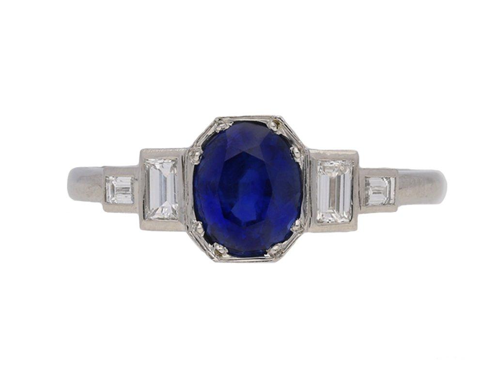 front view Art Deco sapphire diamond ring berganza hatton garden