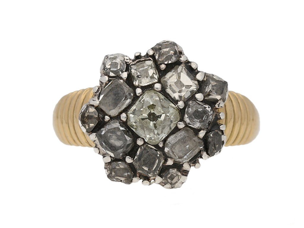 front view Georgian diamond button cluster ring berganza hatton garden