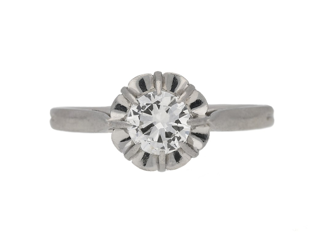 front view vintage diamond solitaire ring berganza hatton garden