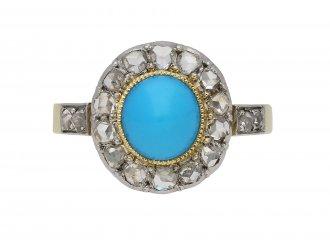 Antique turquoise and diamond ring berganza hatton garden