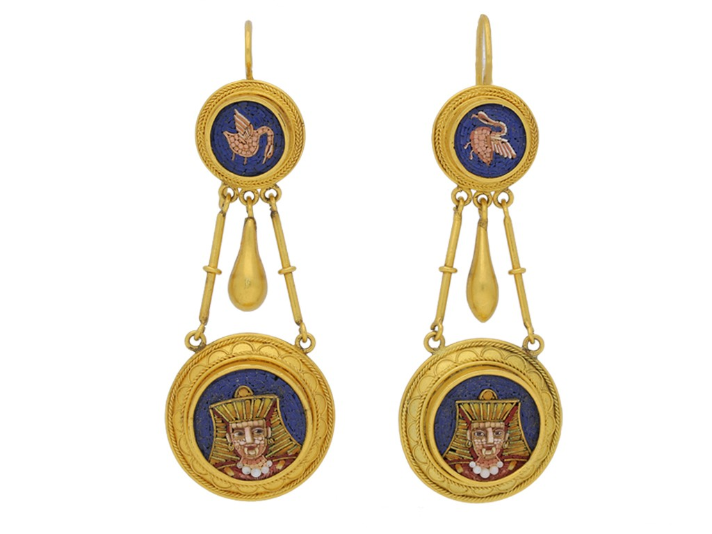 front view Egyptian Revival micro mosaic earrings berganza hatton garden