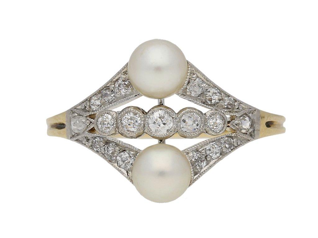 front view antique pearl diamond ring berganza hatton garden