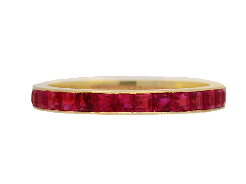 front view vintage ruby eternity ring berganza hatton garden