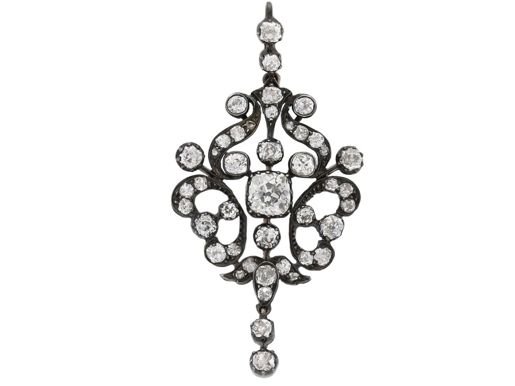 front view antique diamond pendant brooch berganza hatton garden
