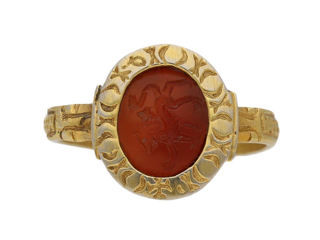front view Medieval lion entaglio ring, berganza hatton garden