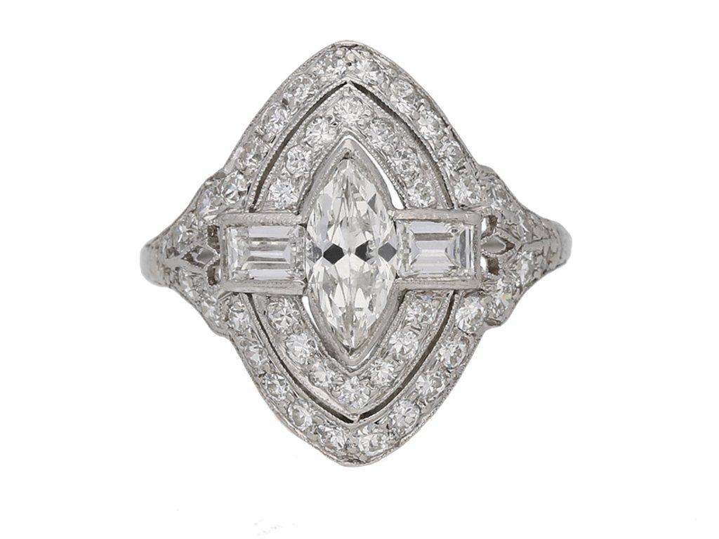 front view Antique Marquise diamond cluster ring berganza hatton garden