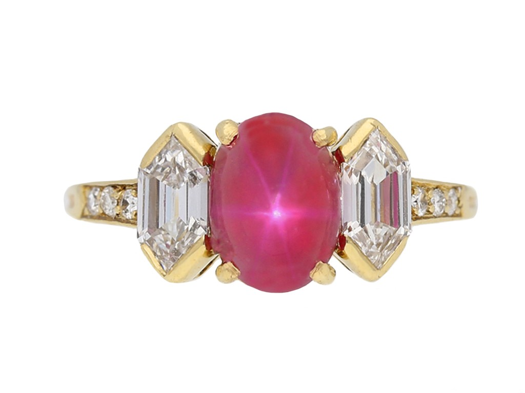 front view Vintage star ruby diamond ring Tiffany & Co berganza hatton garden