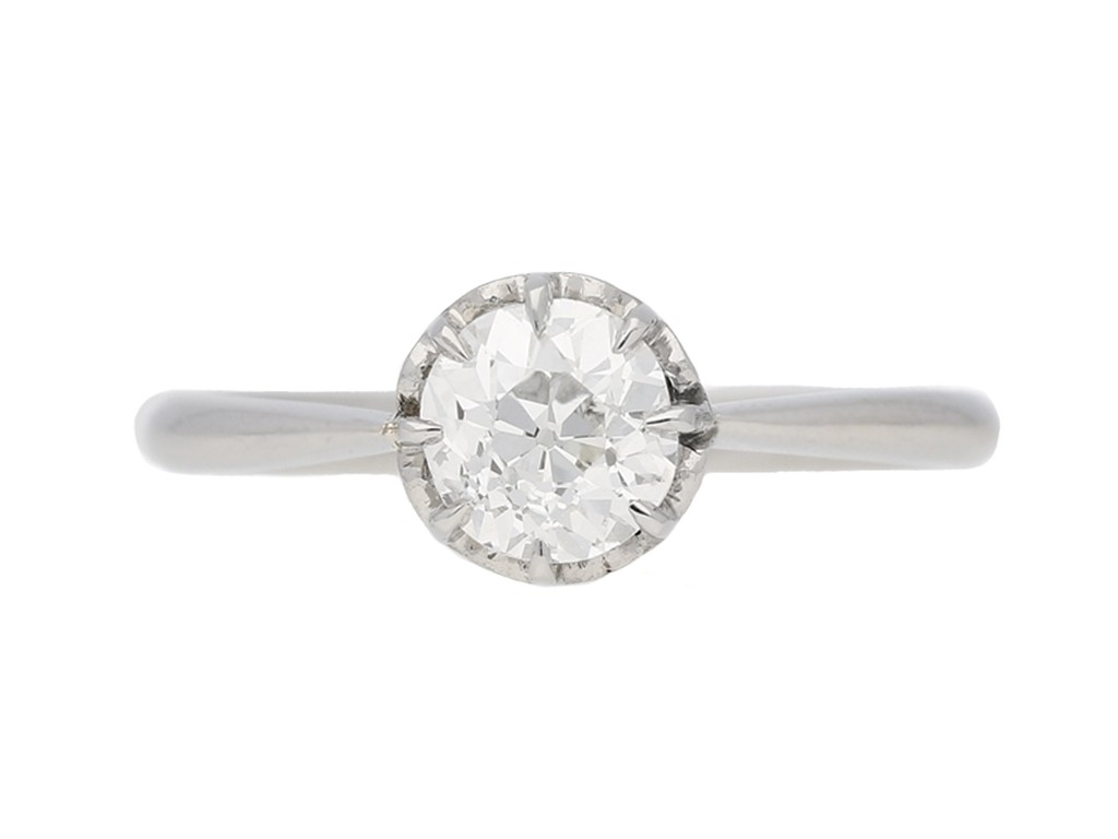 front view antique diamond solitaire ring berganza hatton garden