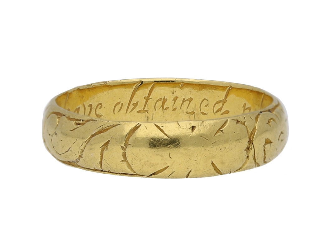 antique Gold posy ring berganza hatton garden