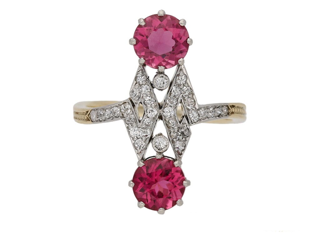 Belle Époque pink tourmaline diamond ring berganza hatton garden