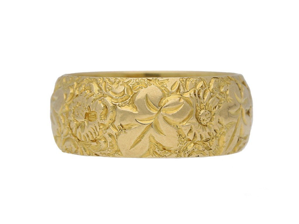 Victorian carved wedding ring berganza hatton garden