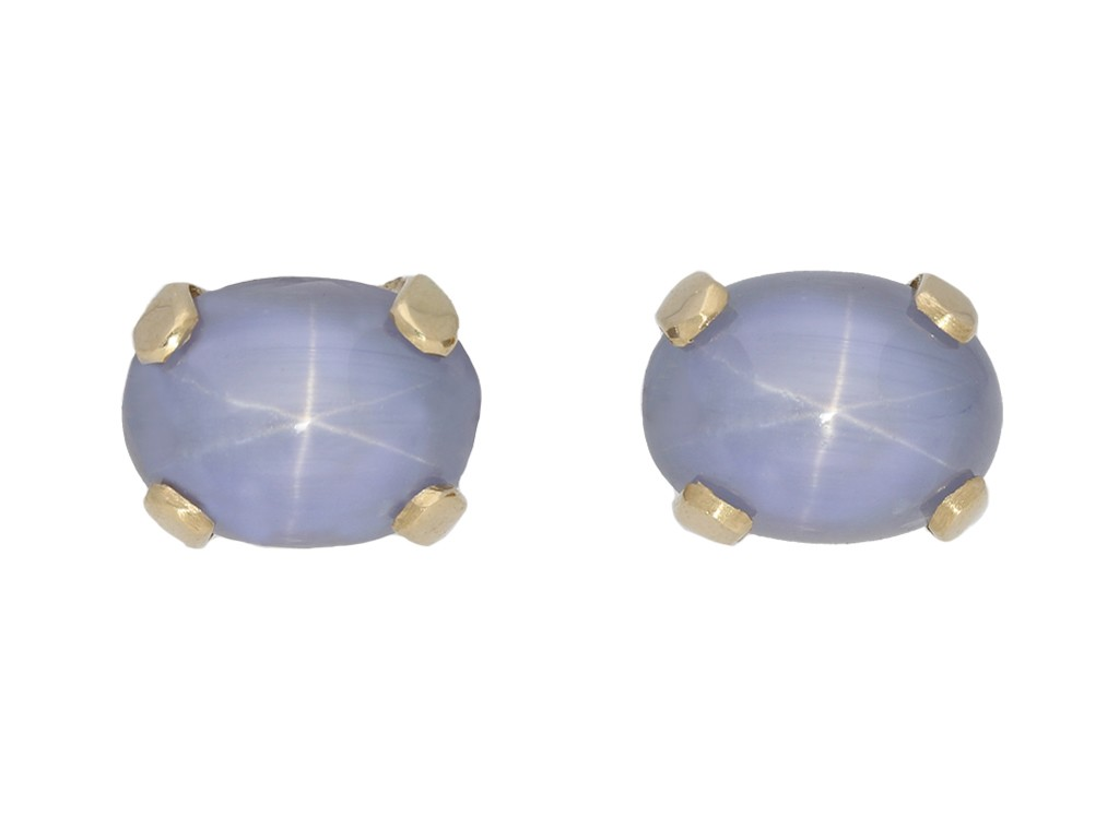 vintage star sapphire stud earrings berganza hatton garden