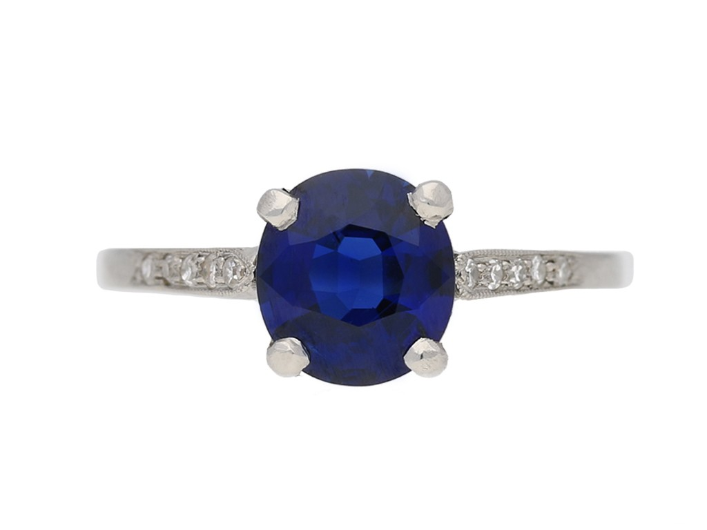 antique Burmese sapphire  diamond ring berganza hatton garden