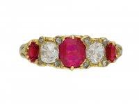 Antique Burmese ruby diamond carved ring hatton garden berganza