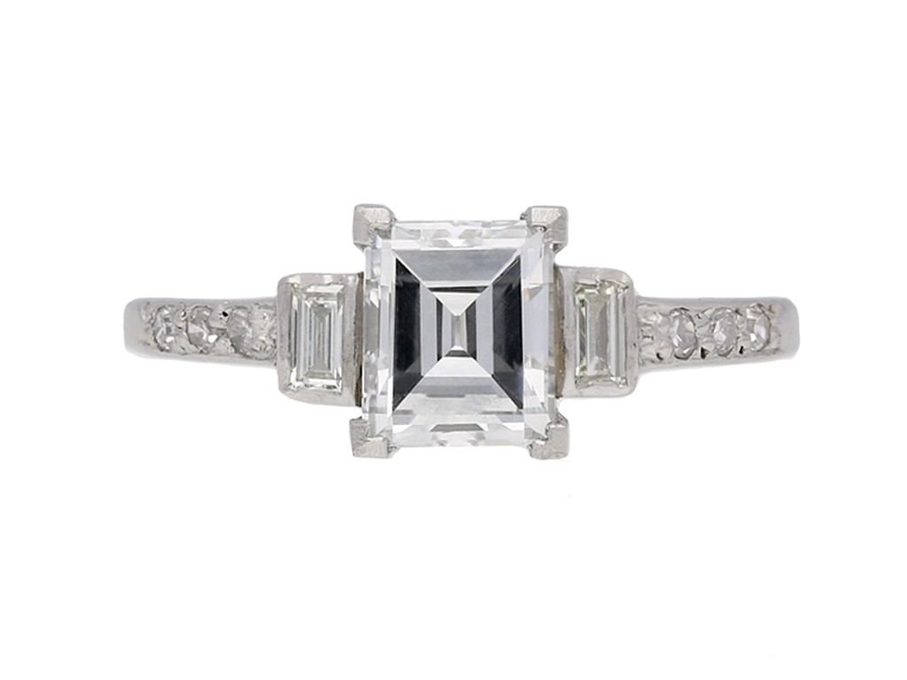 front view Art Deco diamond engagement ring berganza hatton garden