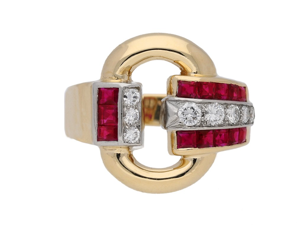 front view Vintage Tiffany ruby diamond ring berganza hatton garden