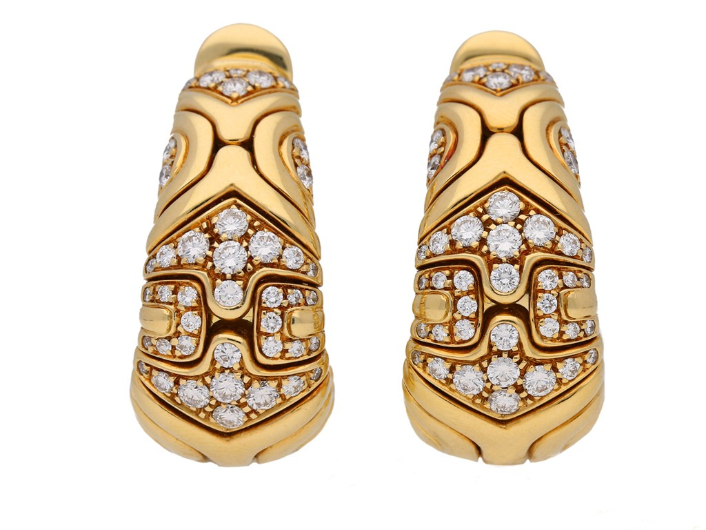 front view Bulgari diamond earrings hatton garden berganza