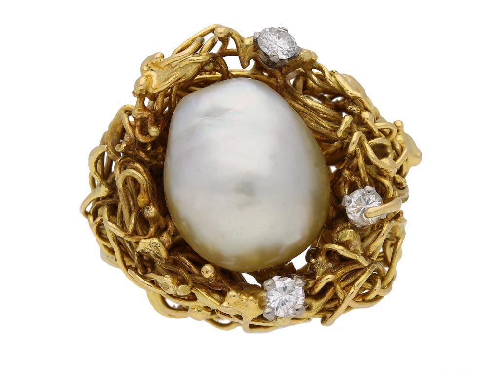 front view vintage pearl diamond ring berganza hatton garden