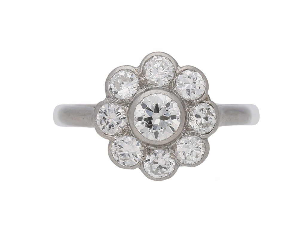 front view vintage Diamond cluster ring berganza hatton garden