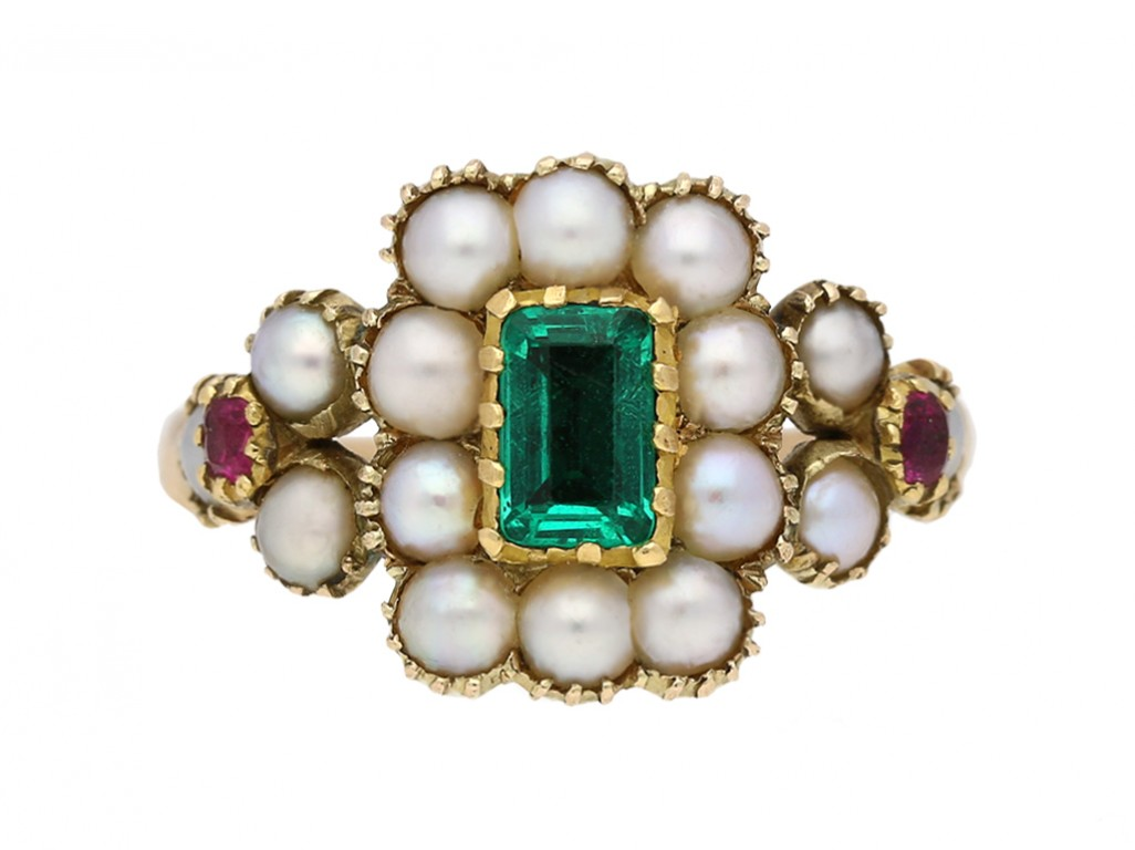 front view antique ruby pearl emerald ring berganza hatton garden