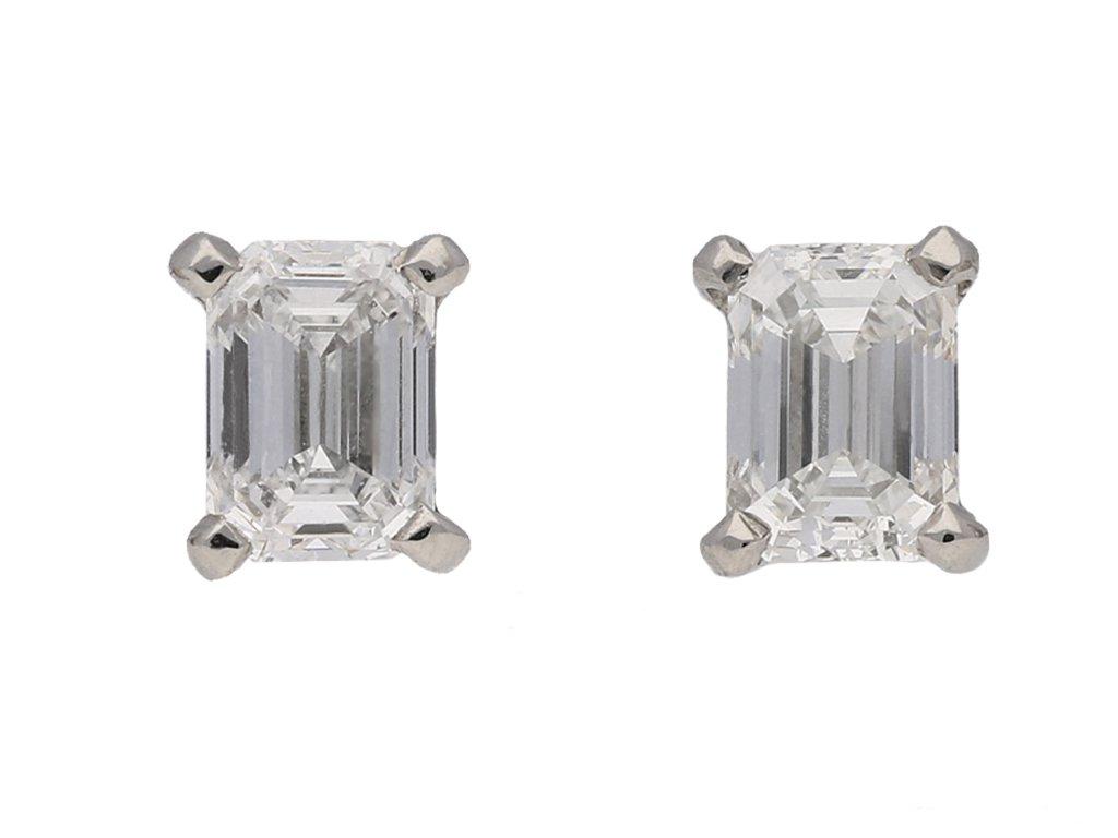 front view vintage diamond earrings hatton garden berganza