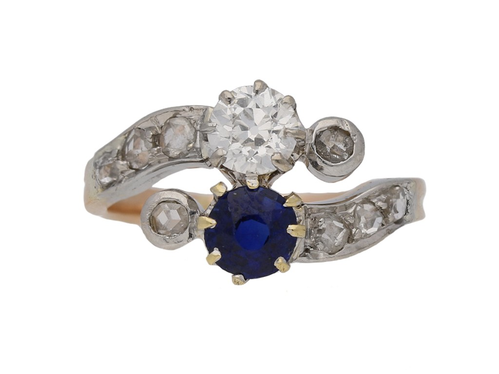 front view antique diamond sapphire ring hatton garden berganza
