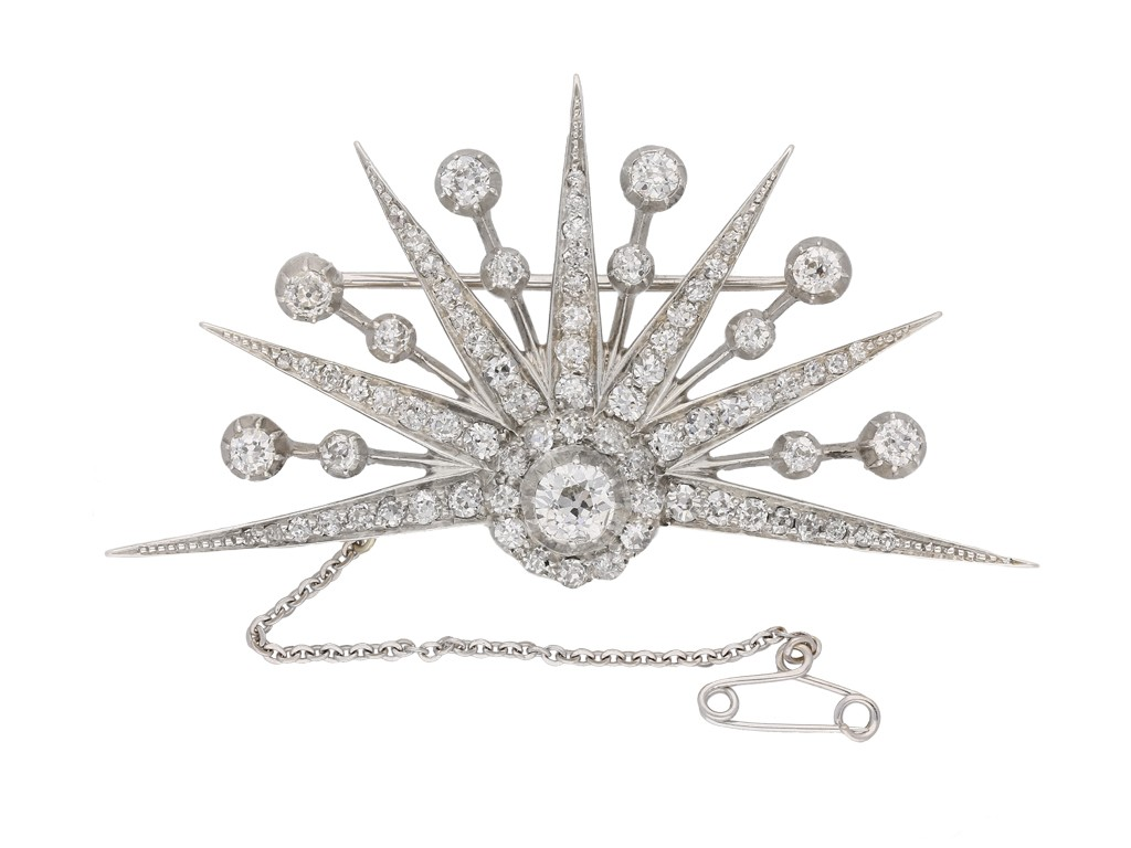 front view antique diamond brooch berganza hatton garden