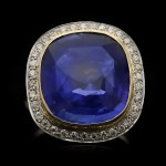 Sapphire and diamond coronet cluster ring, English, circa 1935.