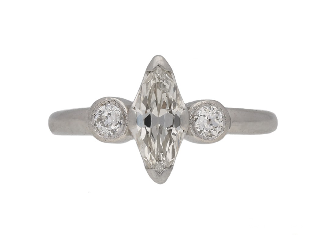 front view Art Deco marquise diamond ring berganza hatton garden