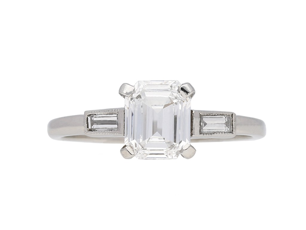 Art Deco emerald cut diamond ring berganza hatton garden