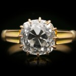 Antique old mine diamond solitaire ring, English, circa 1890.
