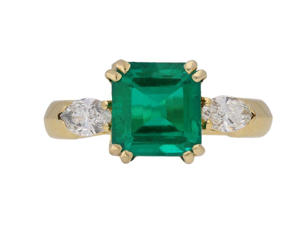 front vintage emerald diamond ring berganza hatton garden
