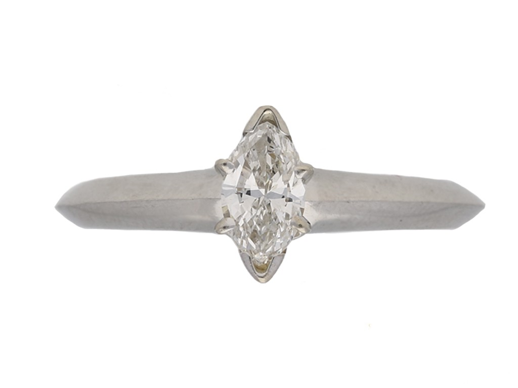 front Tiffany Co diamond marquise ring berganza hatton garden