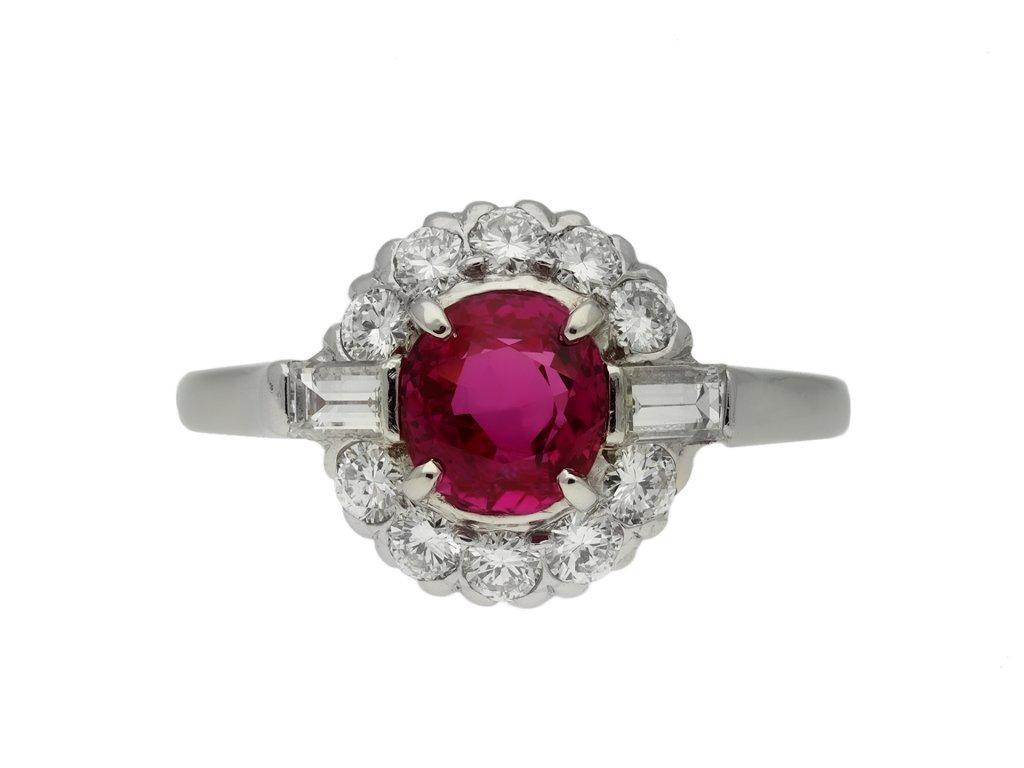 Vintage Burmese ruby diamond cluster ring berganza hatton garden