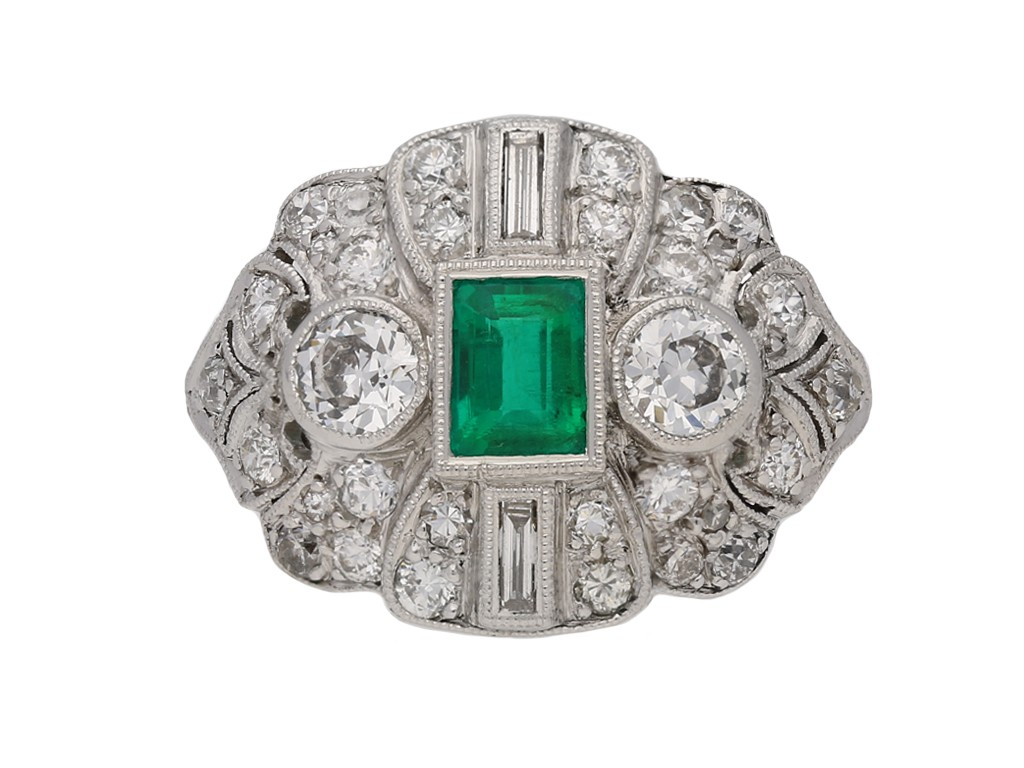 front antique diamond emerald ring berganza hatton garden