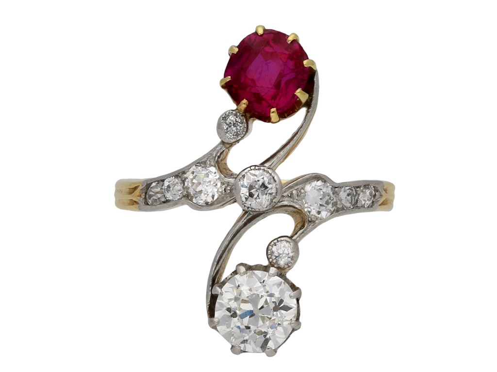 Antique ruby and diamond crossover ring hatton garden berganza