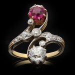 Edwardian Burmese ruby and diamond crossover ring, English, circa 1905.