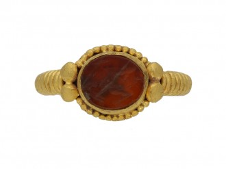 Ancient Roman ring with Faunus intaglio berganza hatton garden