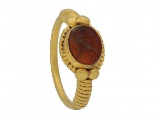 Ancient Roman ring with Faunus intaglio berganza hatton garden