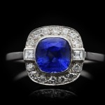 Art Deco Burmese sapphire and diamond ring, circa 1935.