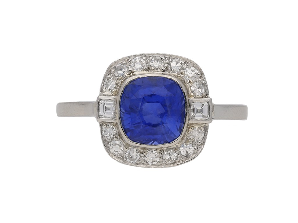 Art Deco Burmese sapphire and diamond ring berganza hatton garden