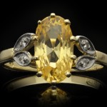 Edwardian yellow Ceylon sapphire and diamond ring, circa 1910.