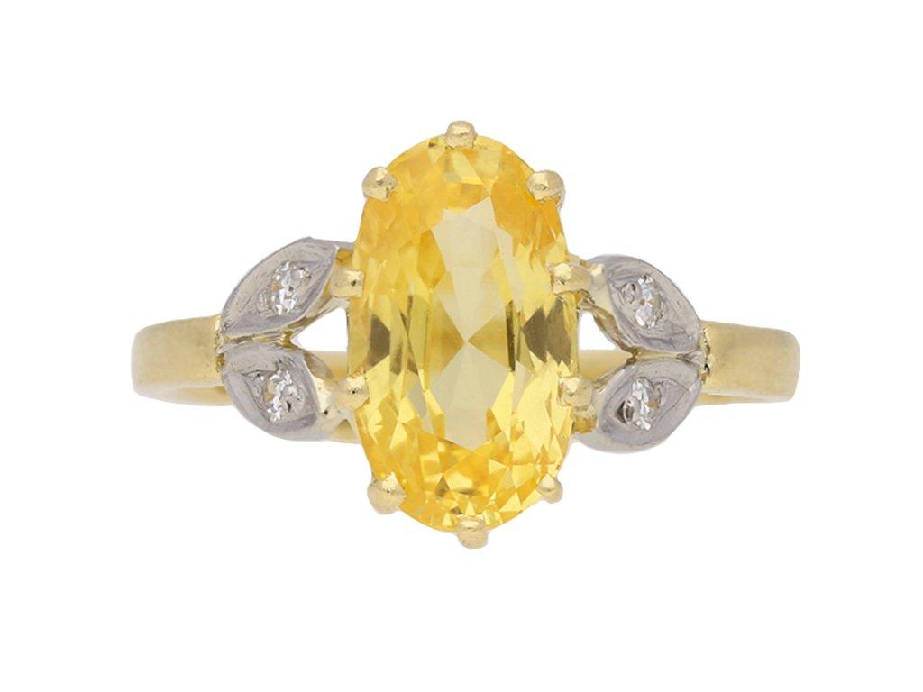 vintage Yellow sapphire diamond ring berganza hatton garden